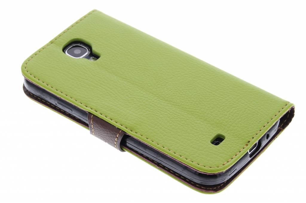 Groene blad design TPU booktype hoes voor de Samsung Galaxy S4