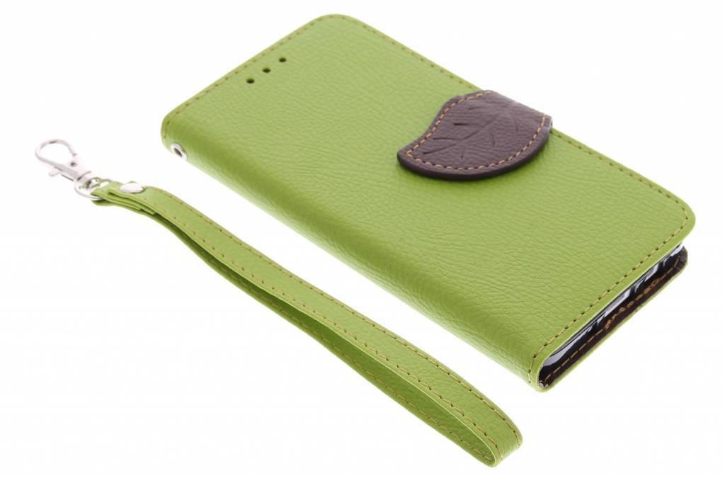 Groene blad design TPU booktype hoes voor de Samsung Galaxy A3