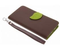 Bruin blad design TPU booktype hoes Huawei P9 Plus