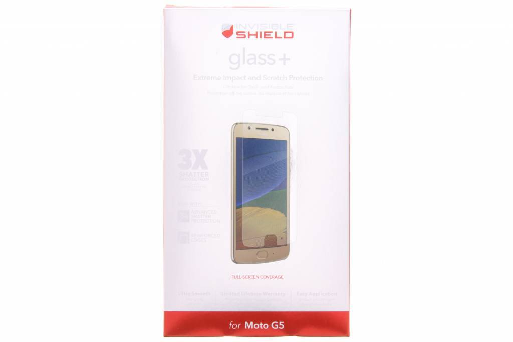 InvisibleShield Glass+ Screenprotector voor de Motorola Moto G5