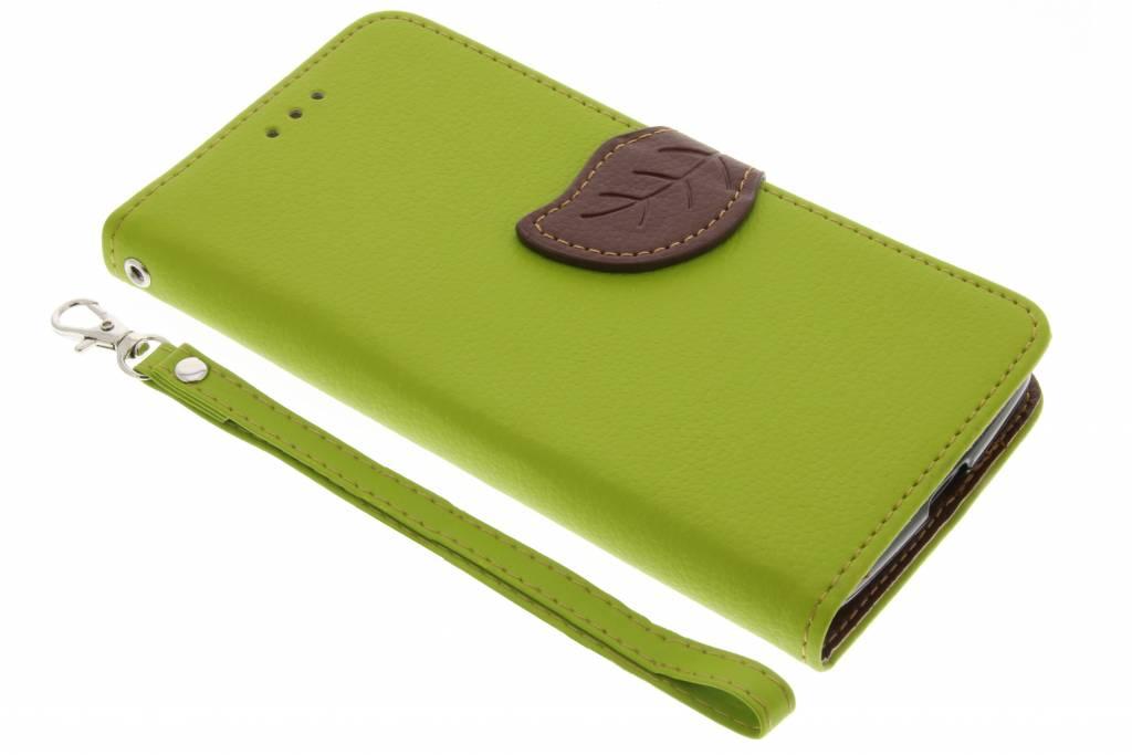 Groene blad design TPU booktype hoes voor de Motorola Moto G5