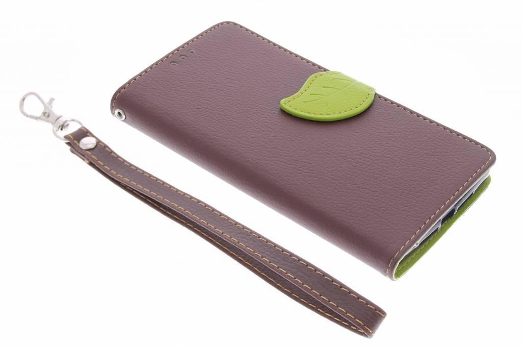 Bruine blad design TPU booktype hoes voor de OnePlus 2