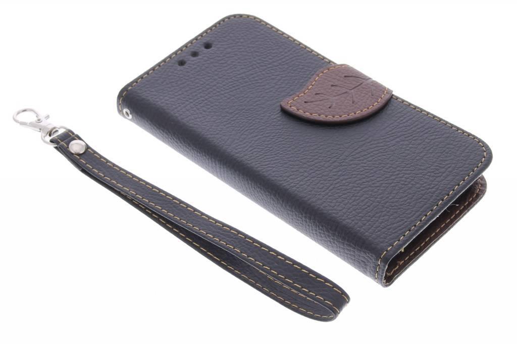 Zwarte blad design TPU booktype hoes voor de Samsung Galaxy Core 2