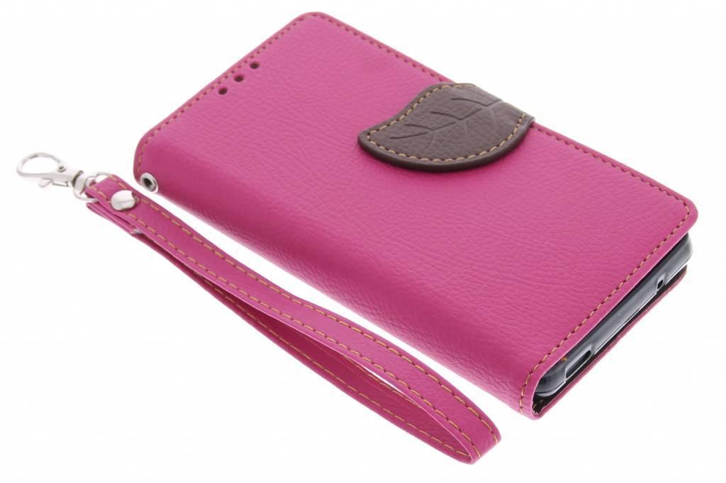 Roze blad design TPU booktype hoes voor de Sony Xperia Z3 Compact
