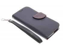Zwart blad design TPU booktype hoes HTC One M8 / M8s