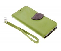 Groen blad design TPU booktype hoes HTC One M8 / M8s