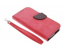 Rood blad design TPU booktype hoes HTC One M8 / M8s