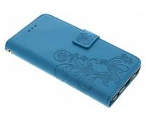 Turquoise klavertje bloemen booktype hoes Huawei P10 Plus