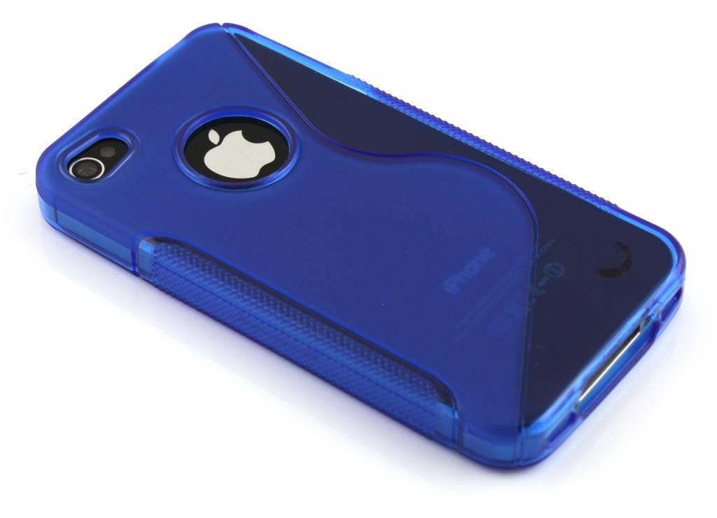 Blauw S-line flexibel TPU hoesje voor iPhone 4(s)