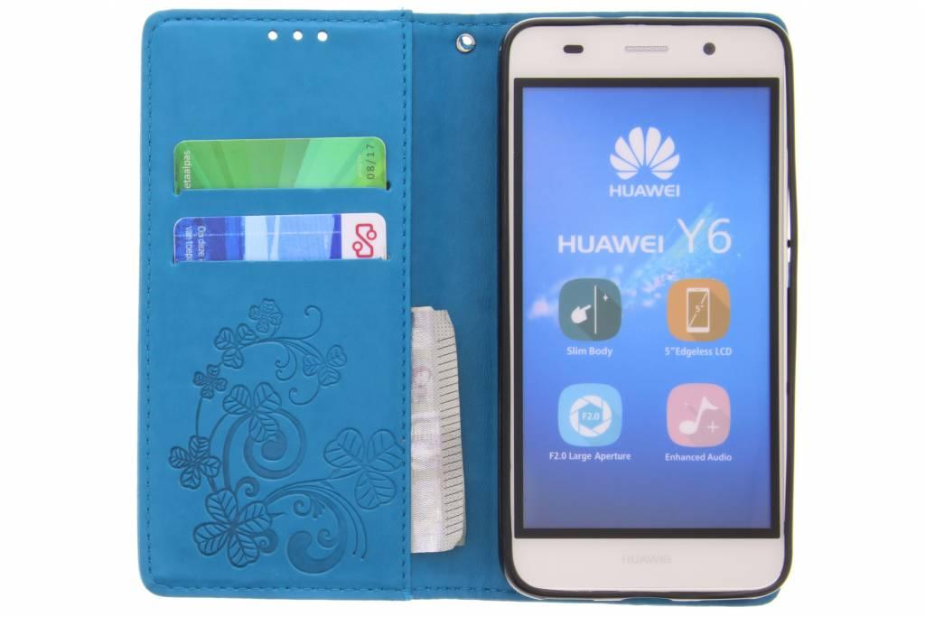 Fleurs De Trèfle Turquoise Case Booktype Pour Huawei Y 6 (2018) BwxQAz4QHm