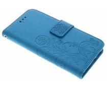 Turquoise klavertje bloemen booktype hoes Huawei Nova
