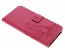 Fuchsia klavertje bloemen booktype hoes Huawei Mate 9