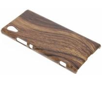 Donkerbruin hout design hardcase hoesje Sony Xperia XA1
