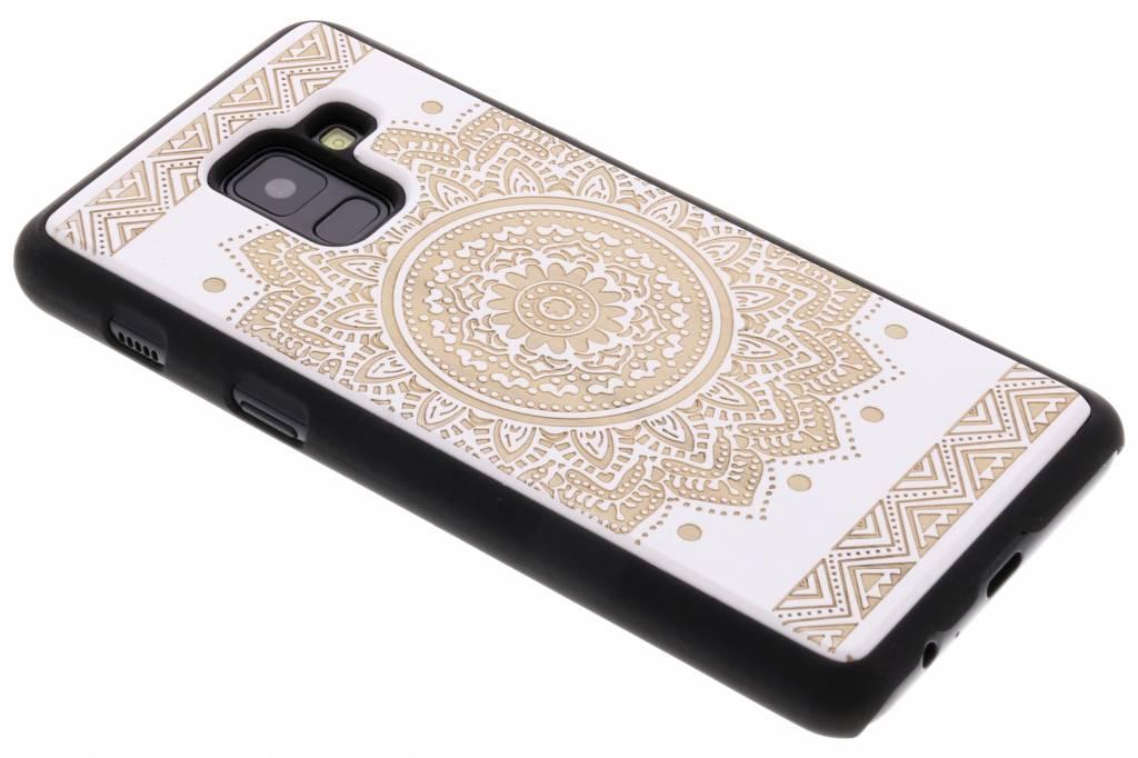 Wit mandala hout hardcase hoesje voor de Samsung Galaxy A8 (2018)