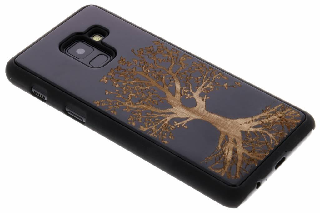 Zwart boom hout hardcase hoesje voor de Samsung Galaxy A8 (2018)