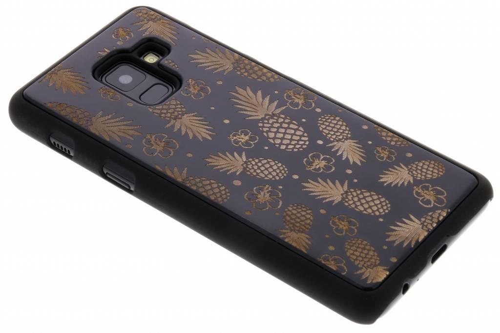 Zwart ananas hout hardcase hoesje voor de Samsung Galaxy A8 (2018)