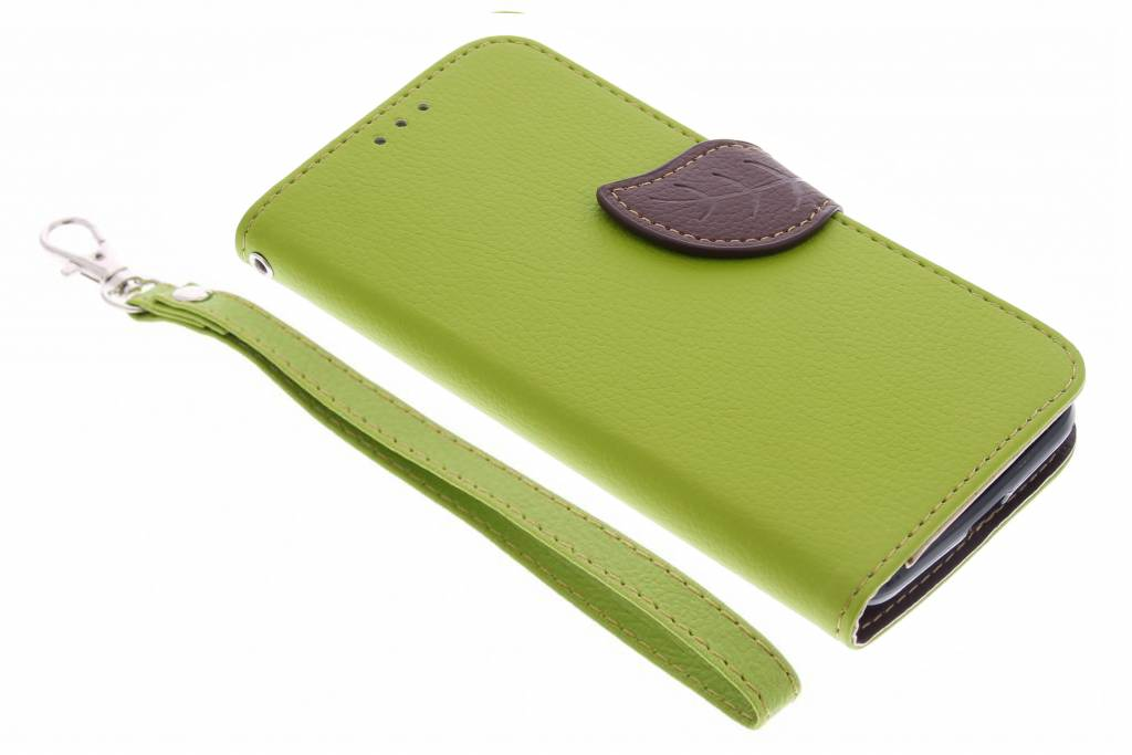 Groene blad design TPU booktype hoes voor de Motorola Moto G 3rd Gen