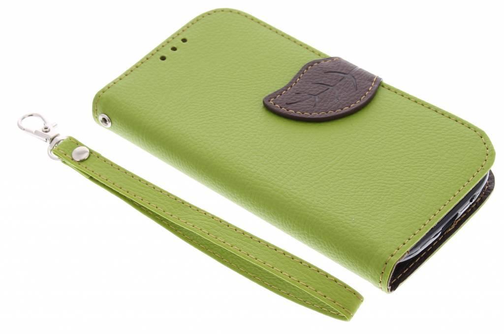 Groene blad design TPU booktype hoes voor de Samsung Galaxy S3 / Neo