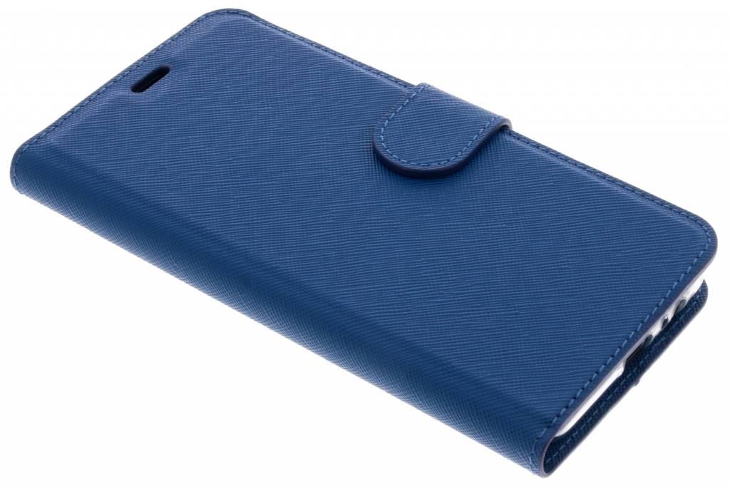 Blauwe Saffiano booktype hoes voor de Samsung Galaxy A8 (2018)