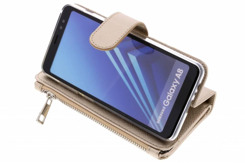 Or Saffiano 9 Emplacements Cas De Porte-monnaie Pour Samsung Galaxy A8 (2018) cdFhM