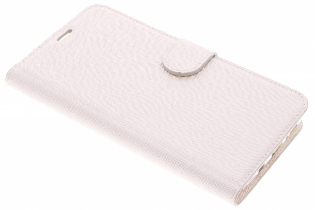 Gebroken witte Saffiano booktype hoes voor de Samsung Galaxy S9 Plus