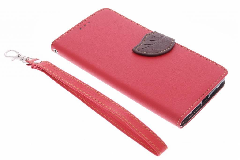 Rode blad design TPU booktype hoes voor de OnePlus 2