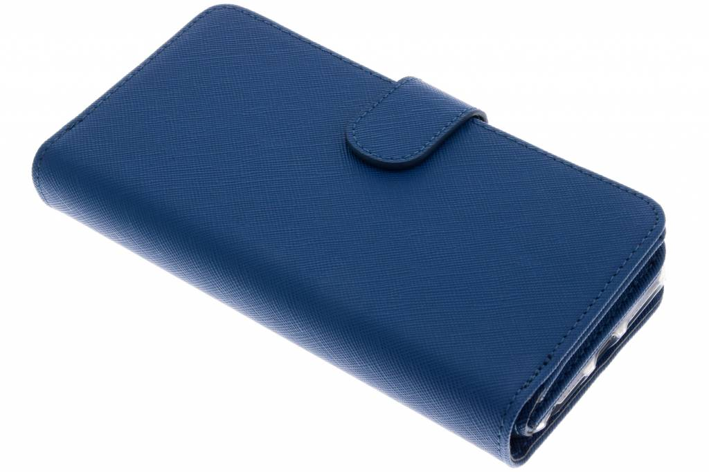 Blauwe Saffiano 9 slots portemonnee hoes voor de iPhone 8 Plus / 7 Plus / 6(s) Plus