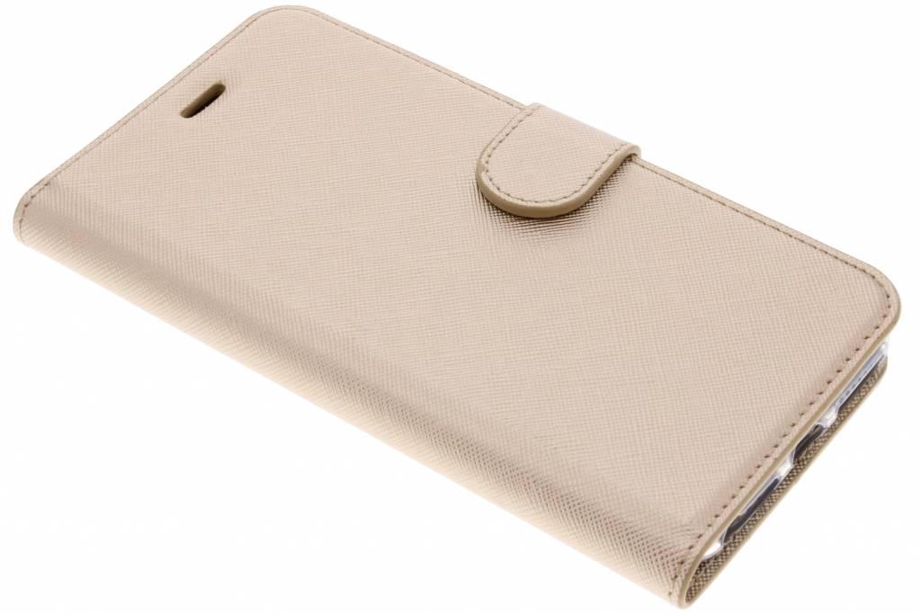 Gouden Saffiano booktype hoes voor de iPhone 8 Plus / 7 Plus / 6(s) Plus
