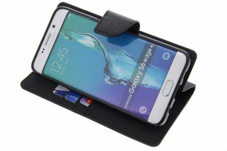 Cas Toile Journal Pour Le Bord S6 Samsung Galaxy - Noir ANhsZc0m