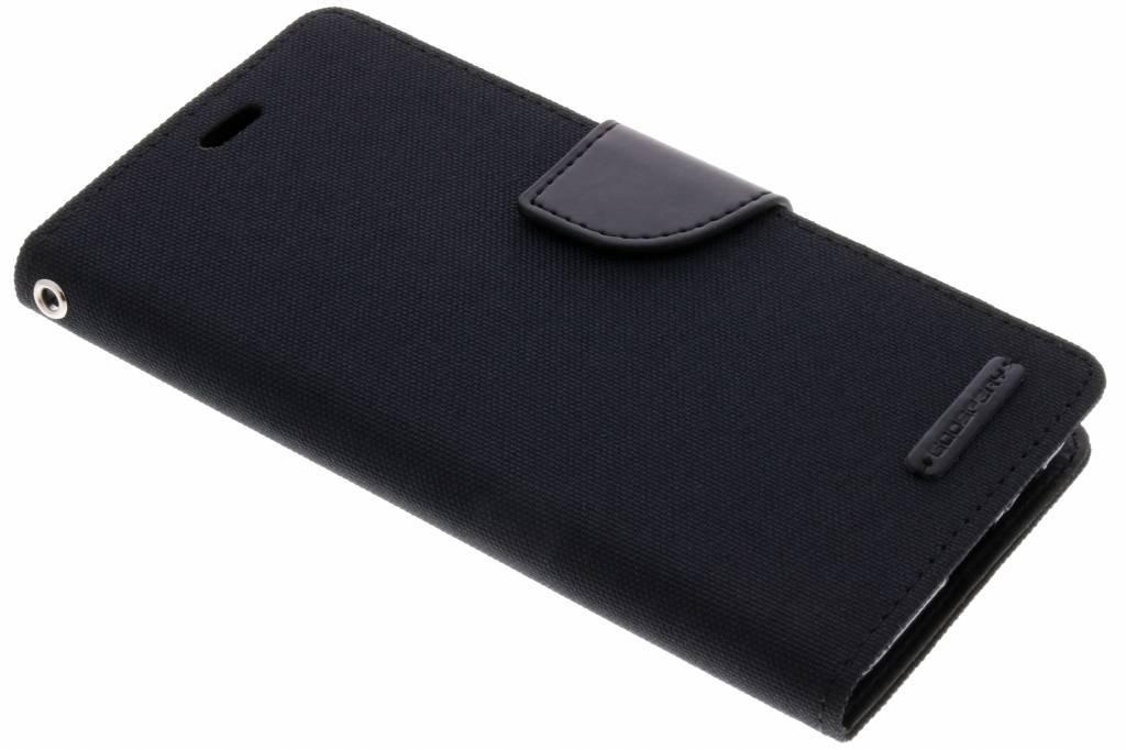 Zwarte Canvas Diary Case voor de Samsung Galaxy A8 (2018)