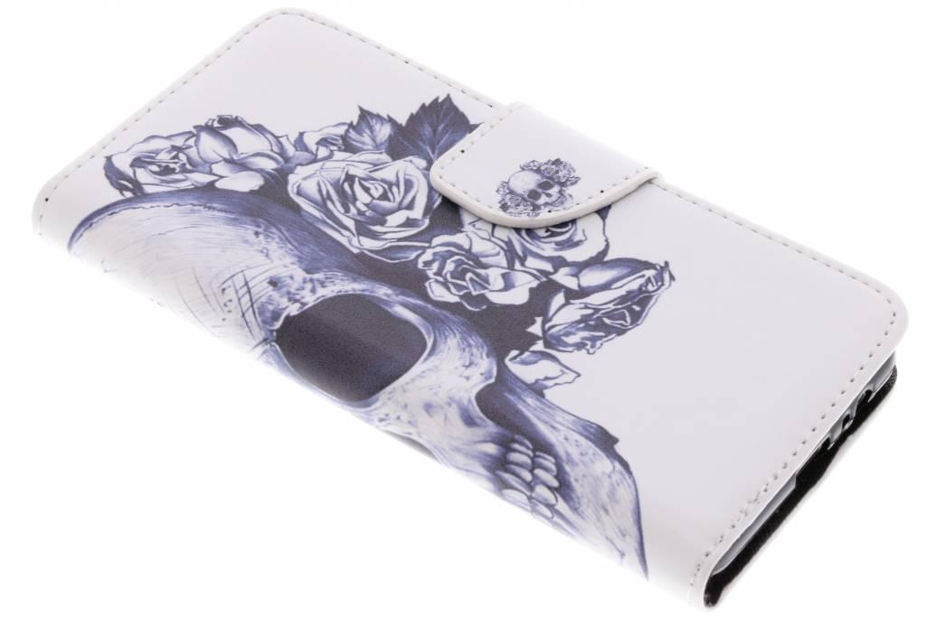 Doodshoofd design TPU booktype hoes voor de Samsung Galaxy A8 (2018)