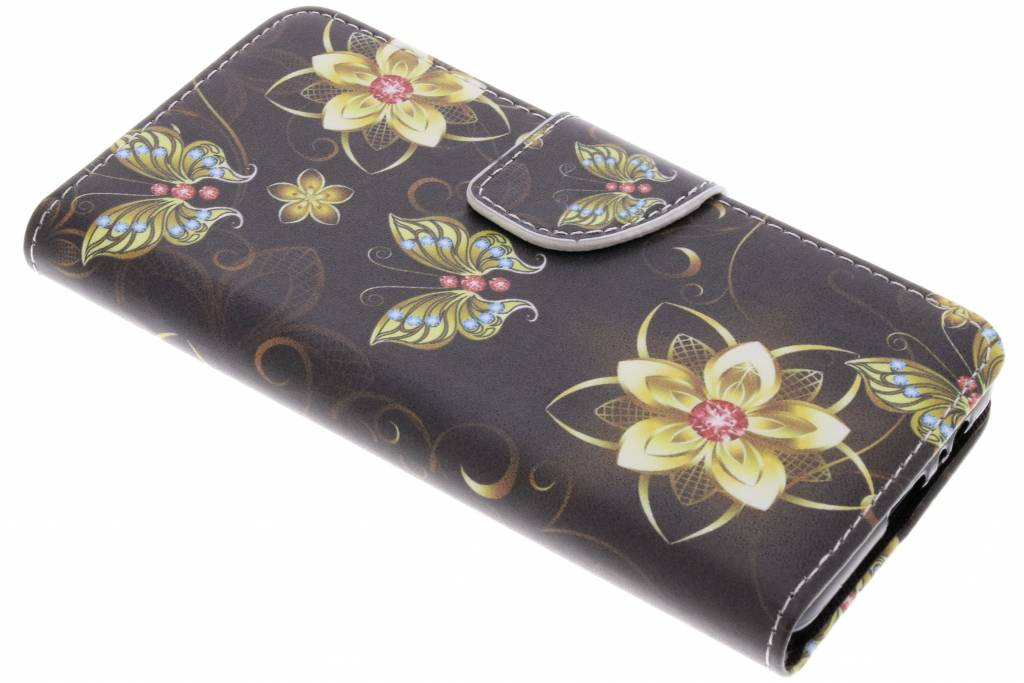 Vlinders met bloemen design TPU booktype hoes voor de Samsung Galaxy A8 (2018)