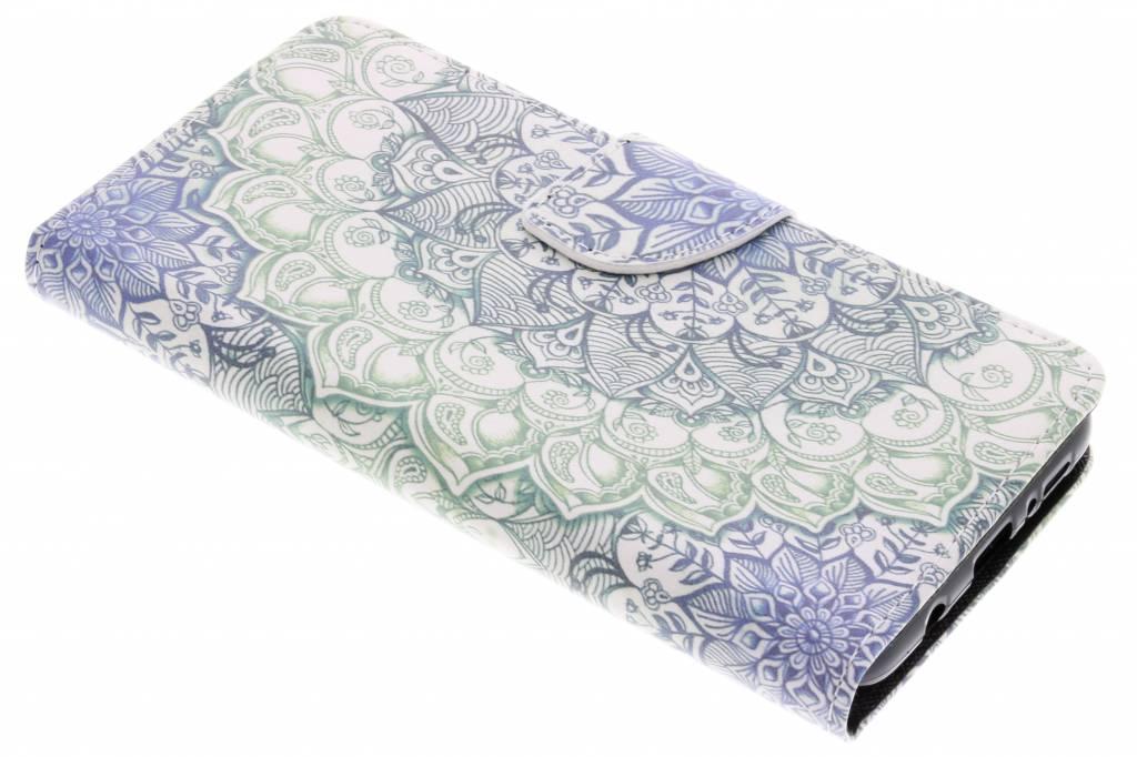 Blauwe mandala design TPU booktype hoes voor de Samsung Galaxy S9 Plus