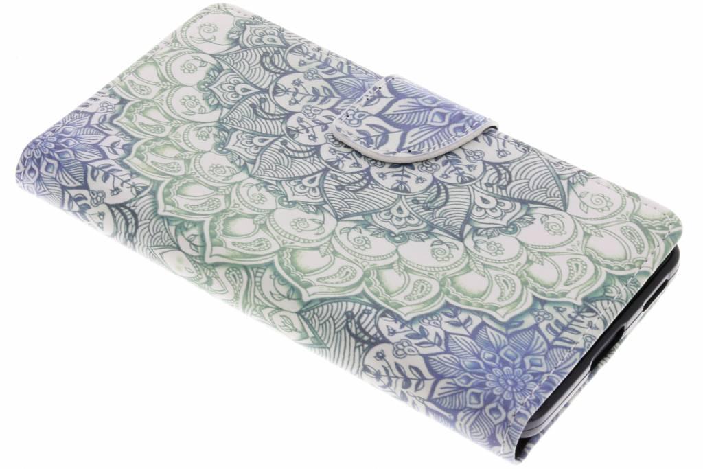 Blauwe mandala design TPU booktype hoes voor de Nokia 6