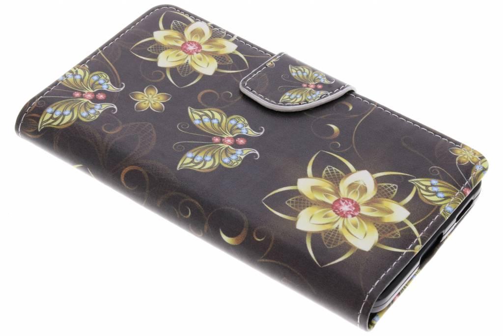 Vlinders met bloemen design TPU booktype hoes voor de Nokia 6