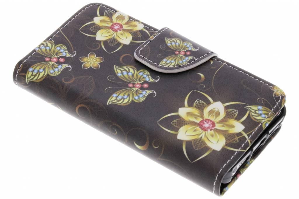 Vlinders met bloemen design TPU booktype hoes voor de iPhone 5 / 5s / SE
