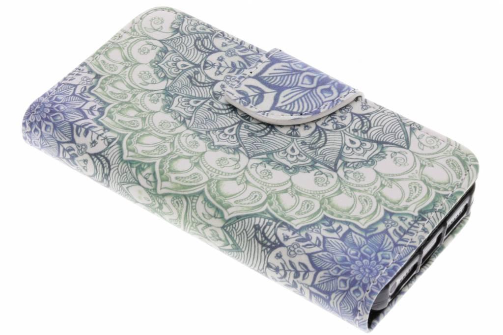 Blauwe mandala design TPU booktype hoes voor de iPhone 5 / 5s / SE
