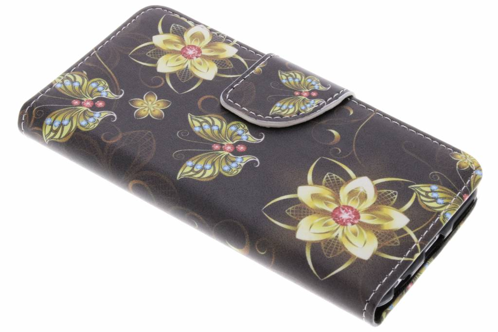 Vlinders met bloemen design TPU booktype hoes voor de iPhone 6 / 6s