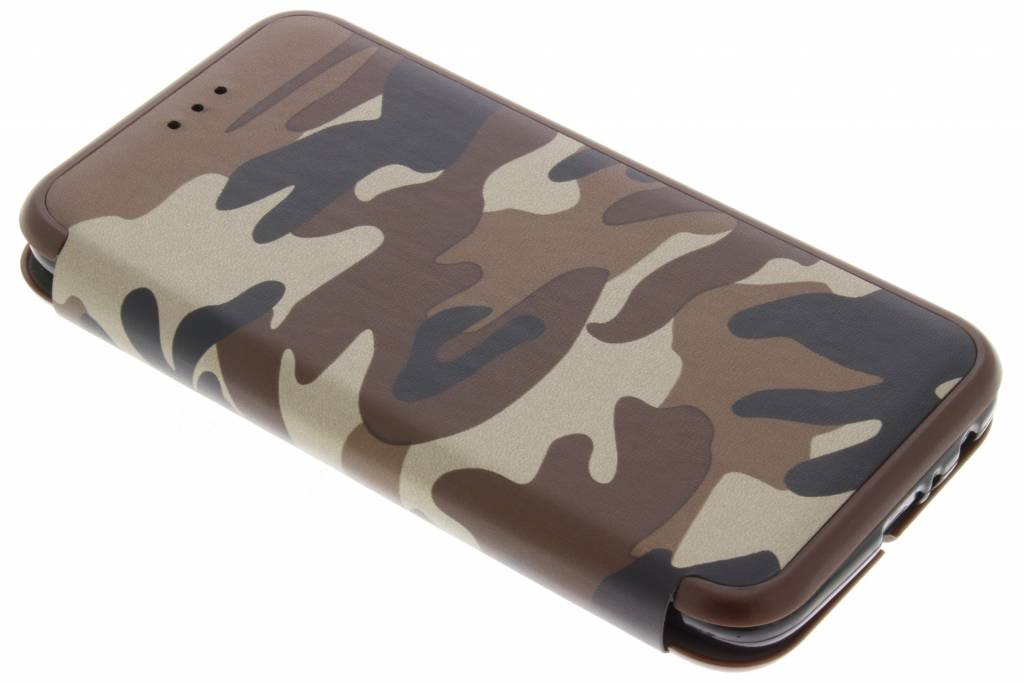 Bruine Army Slim Folio Case voor de Motorola Moto G5 Plus