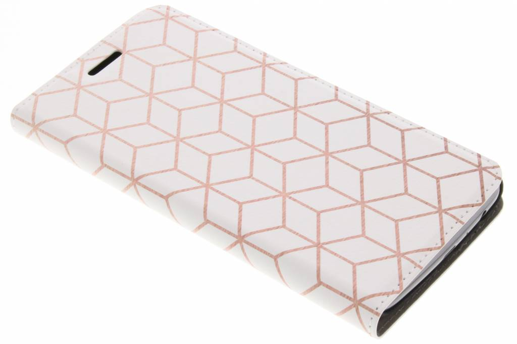 Cubes Rose Gold Design Booklet voor de Motorola Moto G5 Plus
