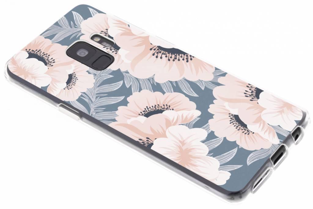 Bloemen pastel design siliconen hoesje voor de Samsung Galaxy S9