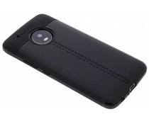 Zwart Lederen siliconen case Motorola Moto G5 Plus