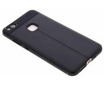 Zwart Lederen siliconen case Huawei P10 Lite