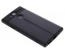 Zwart Lederen siliconen case Sony Xperia XA2