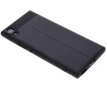 Zwart Lederen siliconen case Sony Xperia XA1