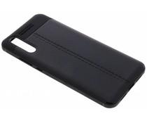 Zwart Lederen siliconen case Huawei P20