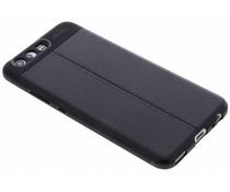 Zwart Lederen siliconen case Huawei P10