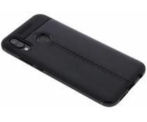 Zwart Lederen siliconen case Huawei P20 Lite