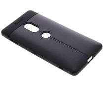 Zwart Lederen siliconen case Sony Xperia XZ2