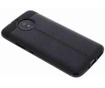 Zwart Lederen siliconen case Motorola Moto G5S